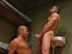 Mature gay cums on curly dude