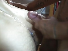 Latin gay stud sub jizzes on hairy a-hole