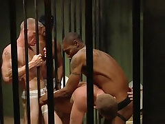 Dark gay guys fuck white prisoners in all holes