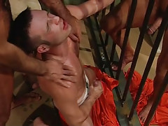 Gay stud sub jizzes in prison group