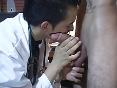 Gay latin doctor plays with massive cock