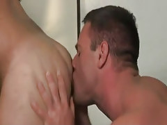 Mature homo licks hairy rectal hole on desk