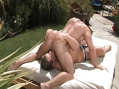 Nasty muscle homosexual guys suck in 69 pose outdoor
