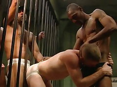 Two swarthy guards put on poor prisoner