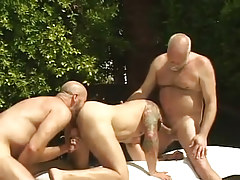 Bear dilf sucks old gay and licked by colleague by pool