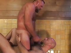 Bear twink swallows clammy jism in shower-room