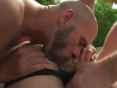 Bear gay guy licks hairy males apple bottoms outdoor