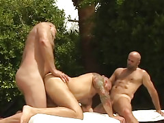 Lusty full-grown bears oral sex and fuck in groupie outdoor