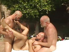 Old and mature gays share hirsute dilf by pool