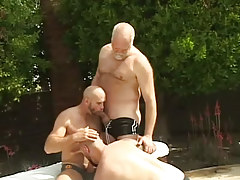 Mature hairy gays suck each other outdoor