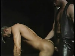 Hairy gay guy in leather makes love appealing hunk
