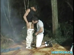 Latin gay man-lovers suck in dark forest