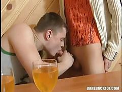 Drunk youthful gay sucks savoury cock