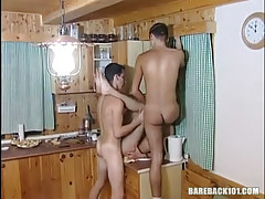 Dirty gay twinks have pleasure on kitchen