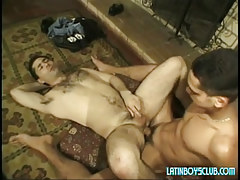 Latin young gay drills hairy dad on floor