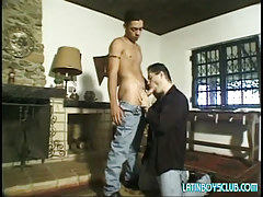 Lusty daddy sucks guiltless latin lad