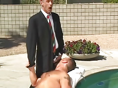 Horny gay boss spoils furry male by pool