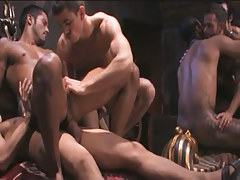 Interracial gays keen fuck in gangbang