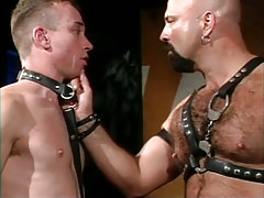 Bear daddy in leather spoils poor gentleman