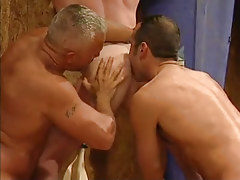 Mature homosexuals take up with the tongue appetizing workable butt in Male+Male+Female