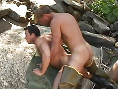 Gay fisherman rough has intercourse hunk behind in nature