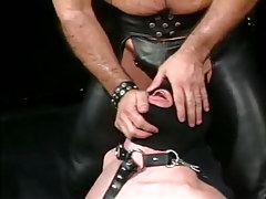 Depraved mature twink in leather tortures poor dude