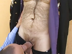 Man sucks his curly boss outdoor