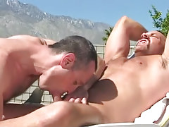 Bear faggot sucked by horny placid man outdoor