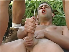 Three muscle twinks ball batter by turns in forest