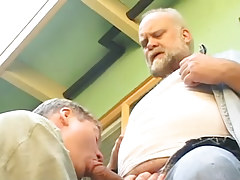 Old fruit sucked by lusty dilf outdoor