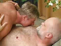 Horny man molests old bear gay guy outdoor