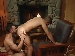 Bear twink licks appetizing ass by fireplace