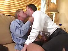 Horny mature gays kiss and make blowjob