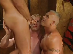 Mature and young homosexual guys accept cum in MMF