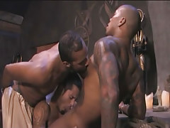 Black tattooed homo sucked by Japanese stallions in group