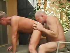 Bear daddy licks appetizing males ass