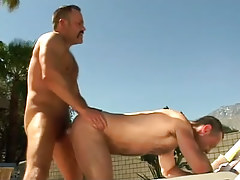 Bear ripe man-lover has intercourse dilf in doggy style outdoor