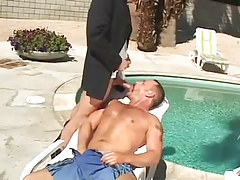 Bear mature gay sucks appetizing snake by pool