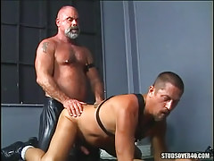 Mature  faggot attains hard anal behind on floor