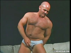 Bear mature homosexual hints hairy body