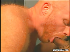 Redhead curly gay throats appetizing rod