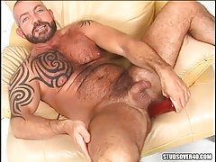 Mature bear homosexual raw dildofucks