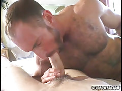 Mature shaggy gay guy swallowing cute lad