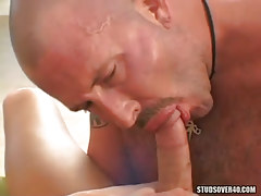 Hairy mature faggot sucks fresh boys weenie