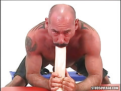 Mature wavy gay throats enormous dildo