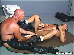 Old bear fruit in leather dildofucks stallion on floor