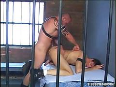 Hairy prisoner fucks hunk in doggy style