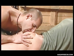 Cute faggot licks appetizing arse in Male+Male+Female