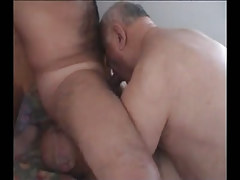 Hairy man sucked and licked by old twinks