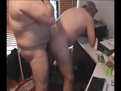 Old obese twink makes love placid fella in doggy style